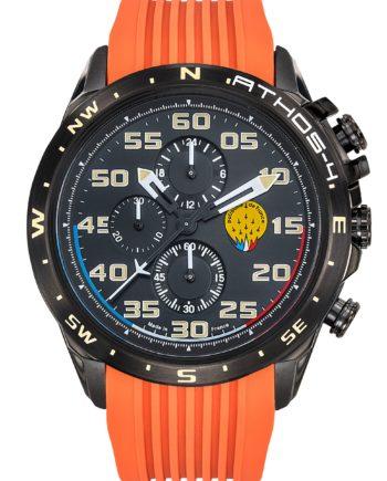 Montre PAF Athos 4 A4-100C-668048 chronographe. Bracelet silicone orange