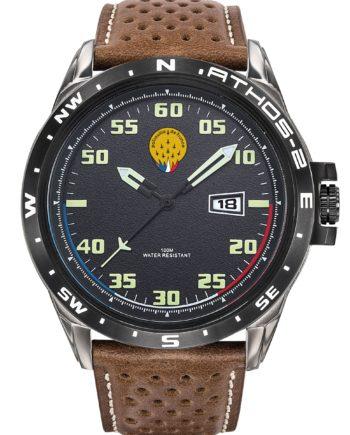 Montre Patrouille de France Acier Homme Cuir Marron Athos2 A2-100ID-668050