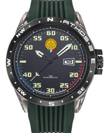 Montre Patrouille de France Acier Homme Silicone Vert Athos2 A2-100ID-668054