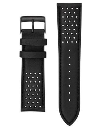 Bracelet cuir noir perforé