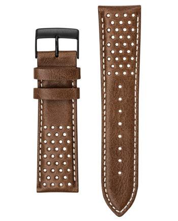 Bracelet cuir marron perforé