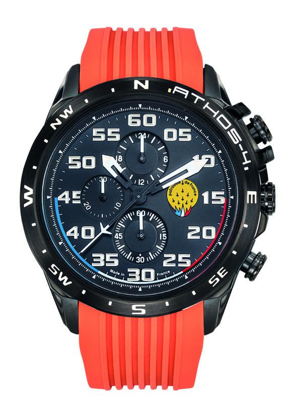 Montre Patrouille de France Chrono Acier Homme Silicone Orange Athos4 A4-100C-668088