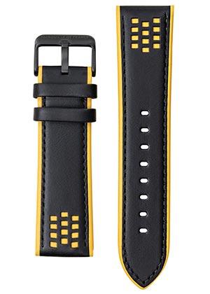Bracelet Montre Patrouille de France cuir noir et jaune