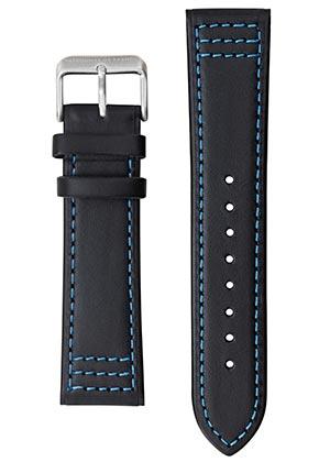 Bracelet Montre Patrouille de France cuir noir surpiqué bleu